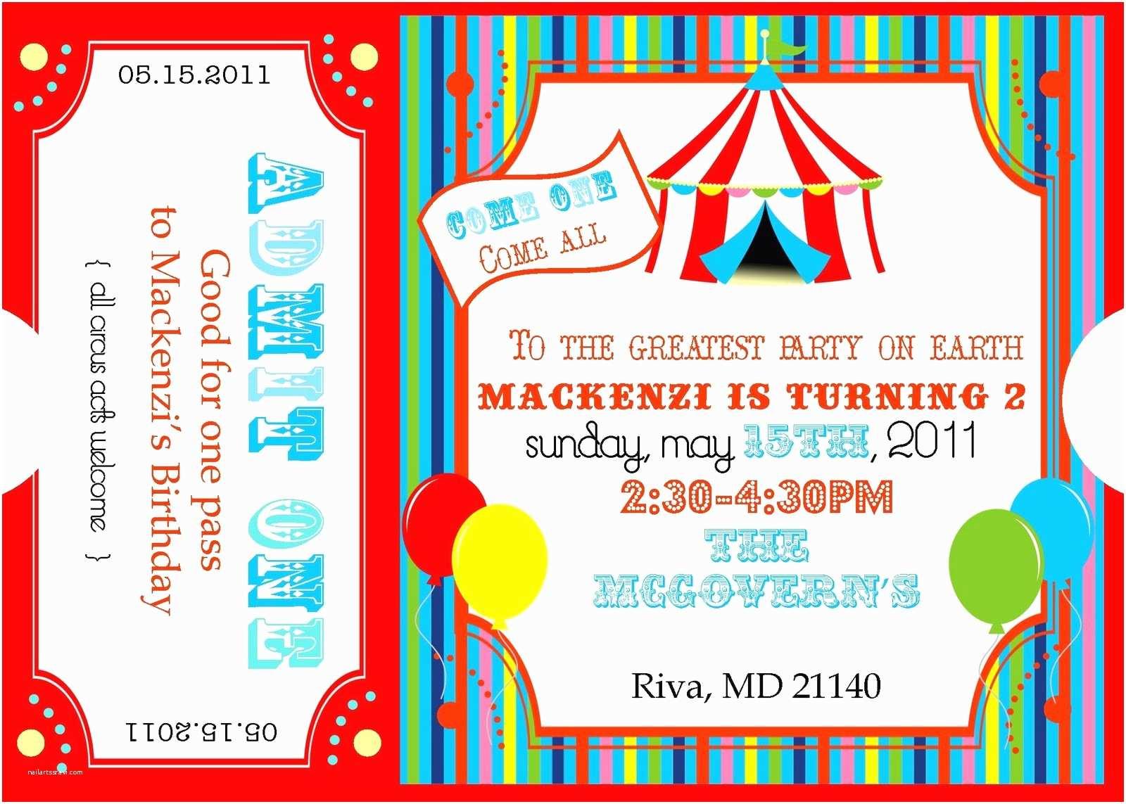 Carnival Birthday Invitations Circus Invitations Template
