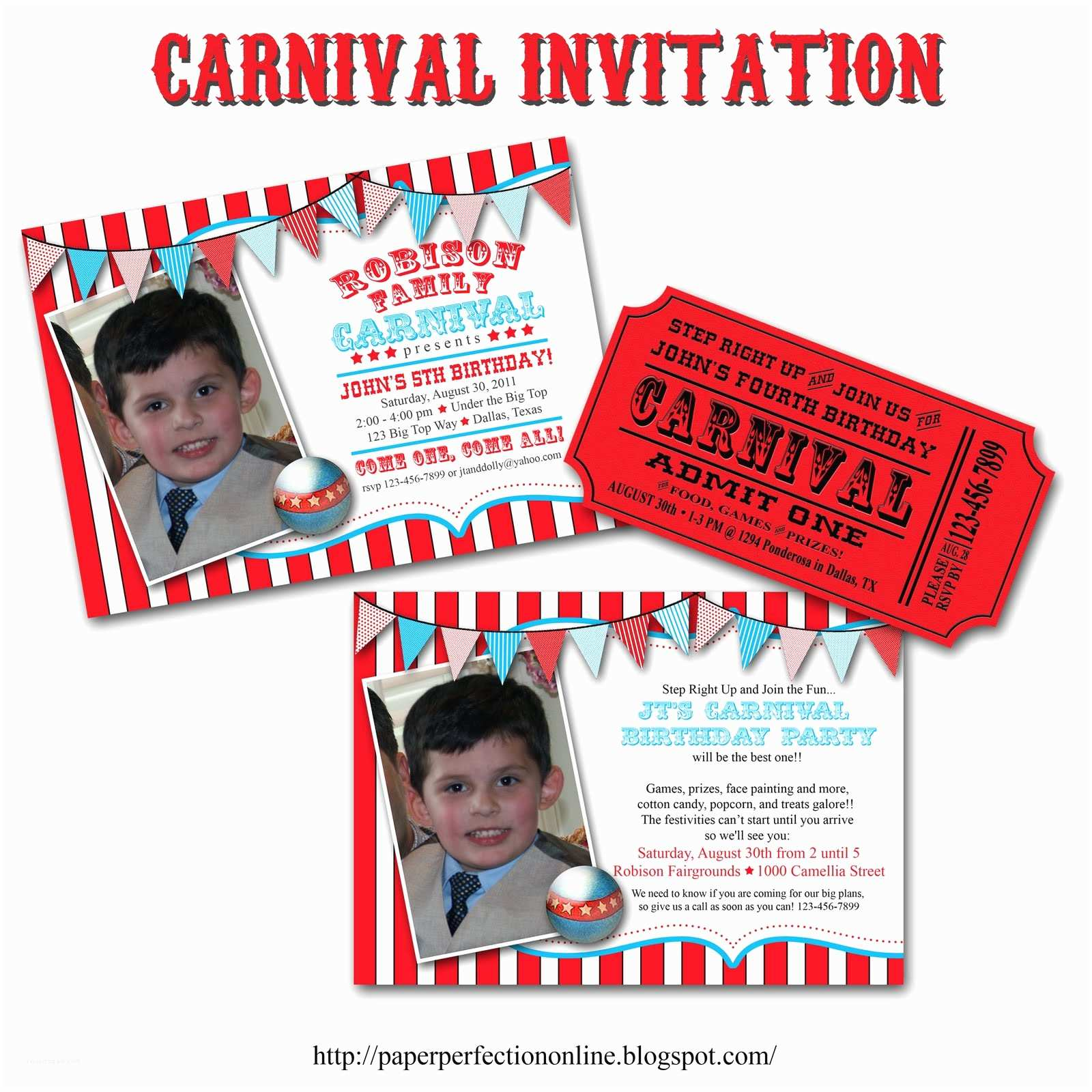 Carnival Birthday Invitations Paper Perfection Carnival Circus Birthday Party Printables