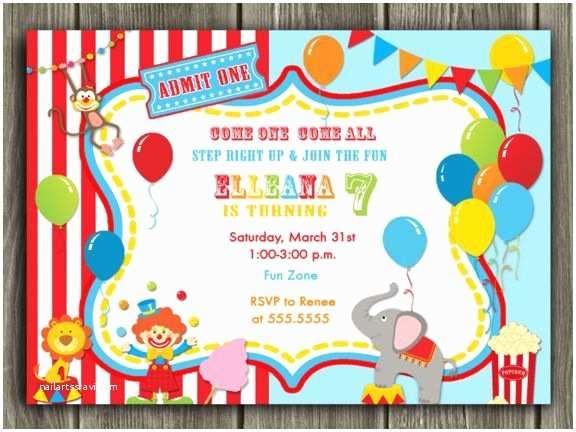 Carnival Birthday Invitations Printable Circus Ticket