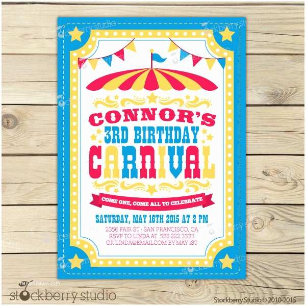 Carnival Birthday Party Invitations Carnival Invitation Printable Carnival Invites Carnival