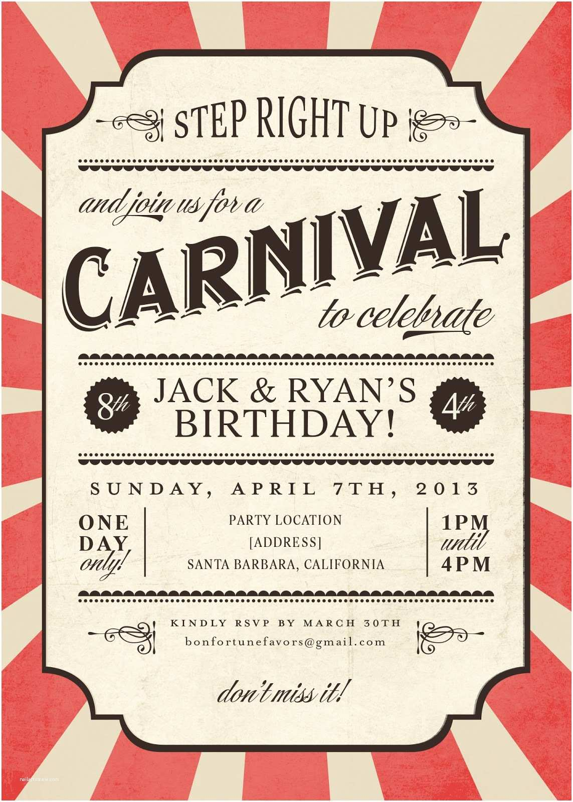 Carnival Birthday Party Invitations Carnival Party Ideas New Kids Center