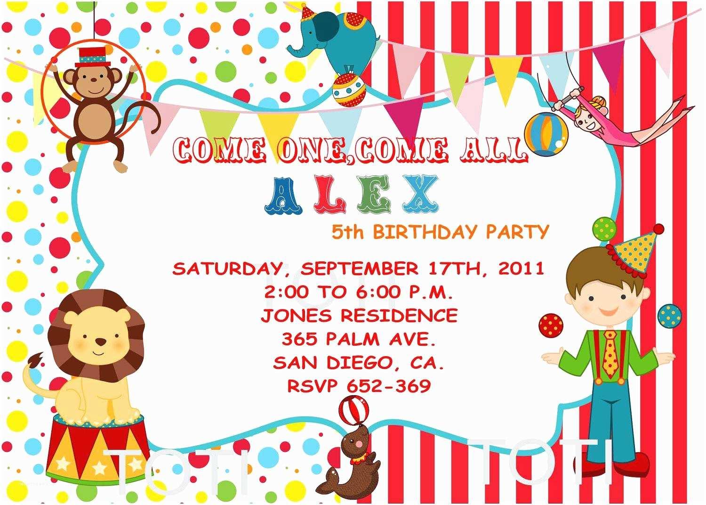 Carnival Birthday Party Invitations Circus Party Invitations