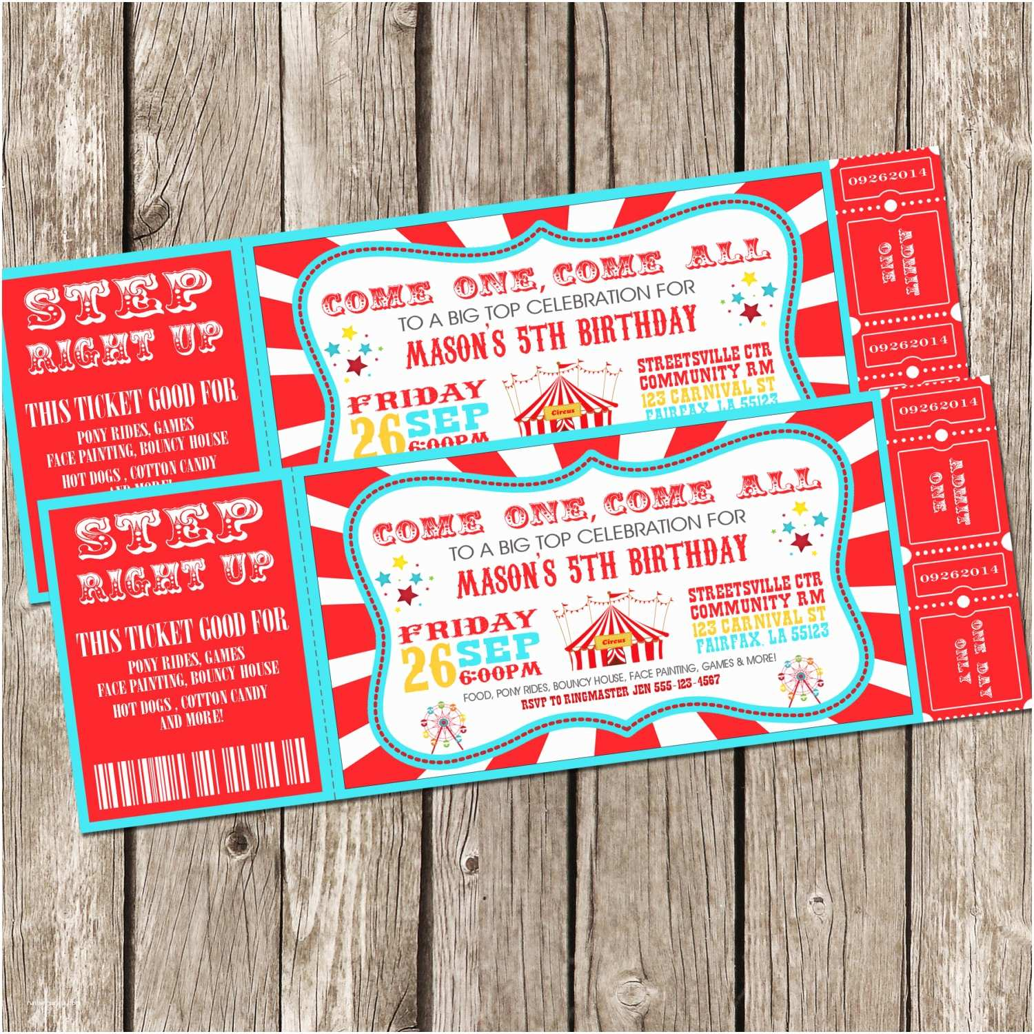 Carnival Birthday Party Invitations Free Printable Movie Ticket