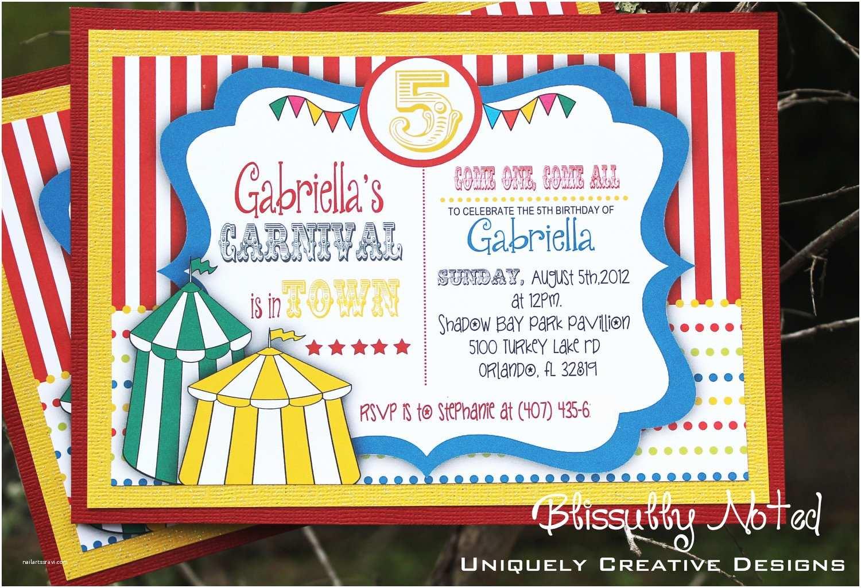 Carnival Party Invitations 25 Carnival Circus Invitations
