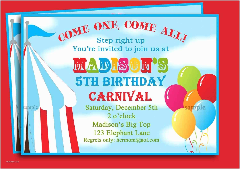 Carnival Party Invitations Carnival Birthday Invitations