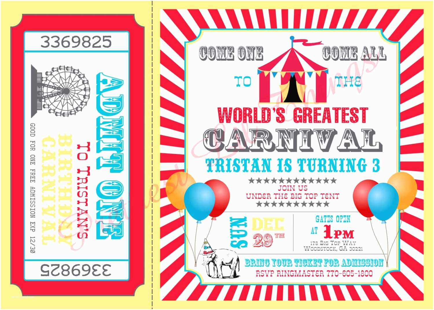 Carnival Party Invitations Carnival Circus Girl or Boy Birthday Party by