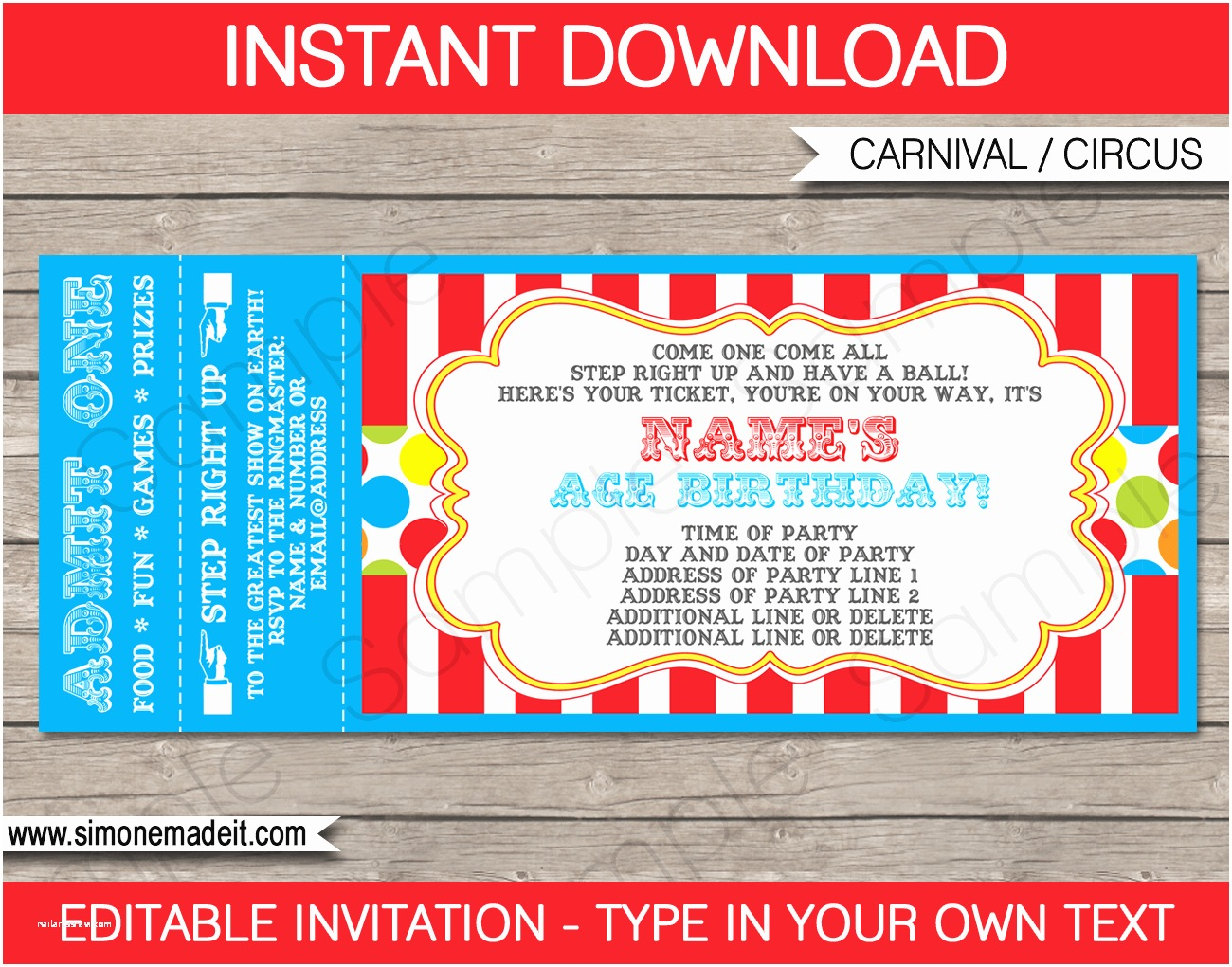Carnival Party Invitations Carnival Party Ticket Invitation Template
