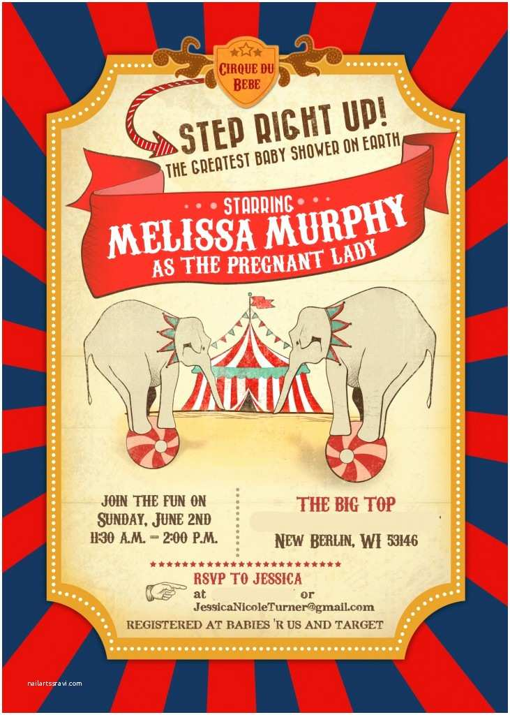 Carnival Party Invitations Circus Baby Shower – Invitations & Decor Part 1 Of 2