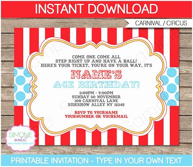 Carnival Party Invitations Circus Invitation Template Red Aqua