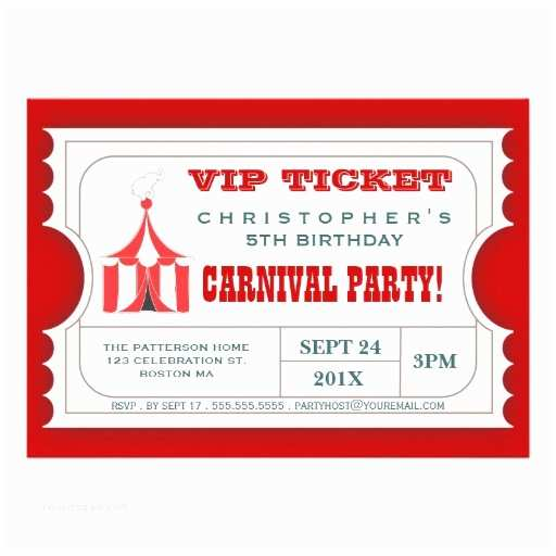 Carnival Party Invitations Circus Ticket Style Invitation Template