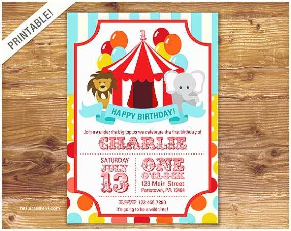 Carnival Party Invitations First Birthday Carnival Invite Circus Invitation Carnival