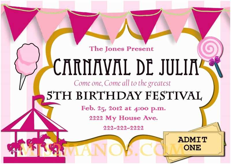 Carnival Party Invitations Free Printable Carnival Birthday Party Invitations
