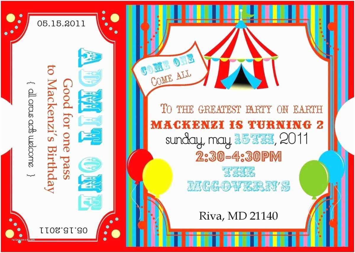Carnival Party Invitations Free Printable Carnival Ticket Invitations