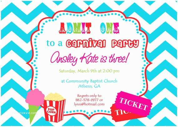 Carnival Party Invitations Printable Carnival Birthday Party Invitation Girly Circus