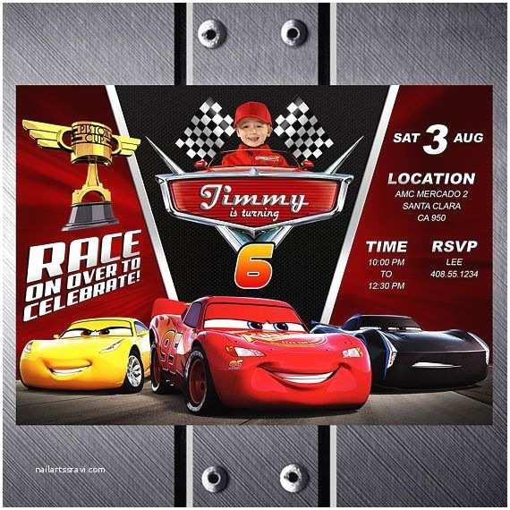 Cars Birthday Invitations Disney Cars 3 Birthday Invitation Cars 3 Party