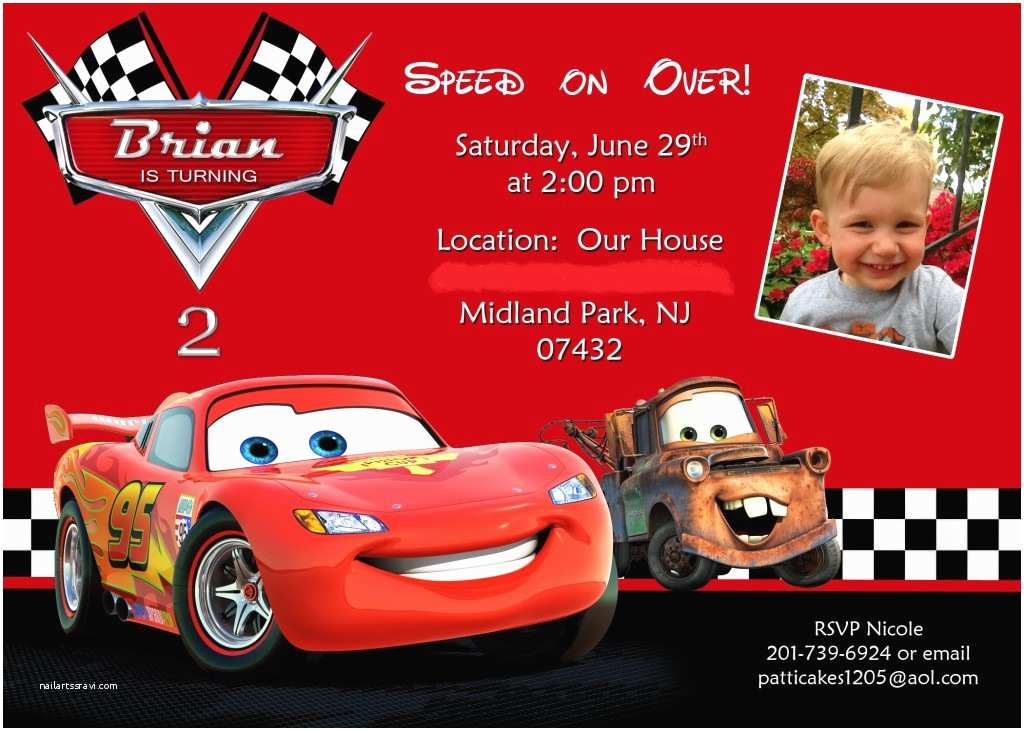 Cars Birthday Invitations Disney Cars Birthday Invitations