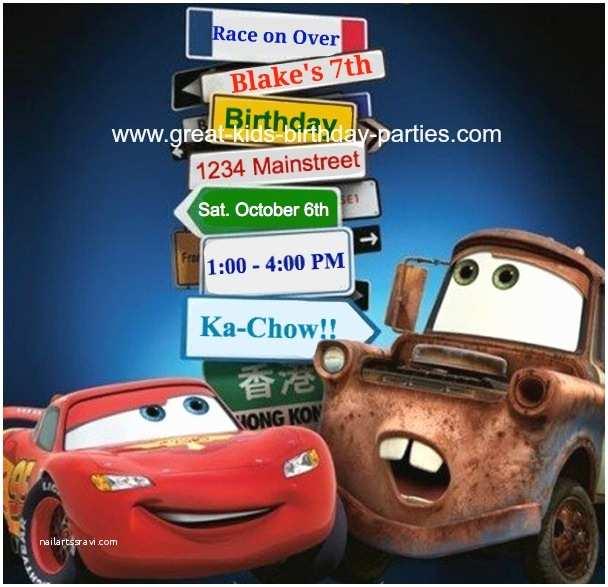 Cars Birthday Invitations Disney Cars Birthday Party