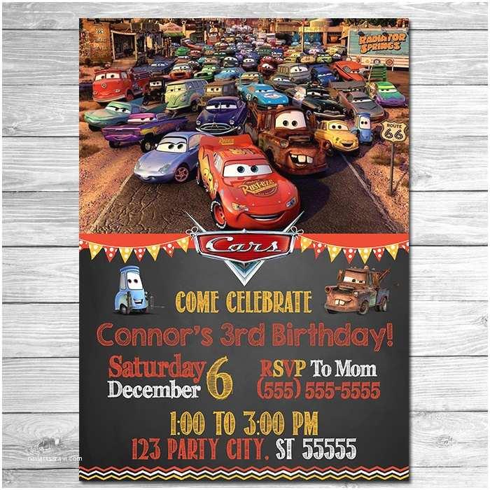 Cars Birthday Invitations Disney Cars Invitation Chalkboard Lightning Mcqueen Birthday