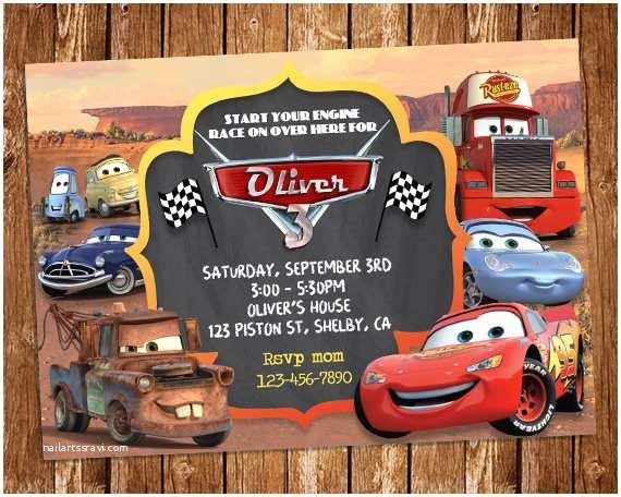 Cars Birthday Invitations Disney Cars Invitation Disney Cars Birthday Party