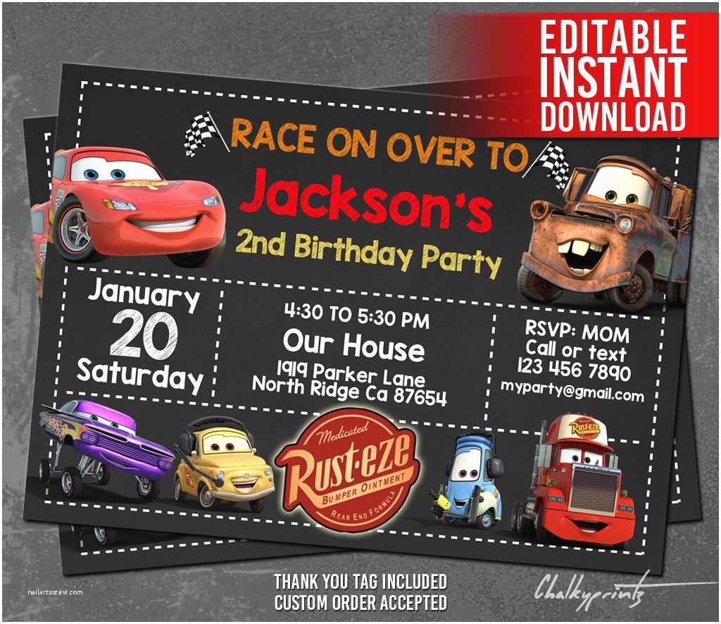 Cars  Invitations Disney Cars Invitation Instant Download Disney Cars