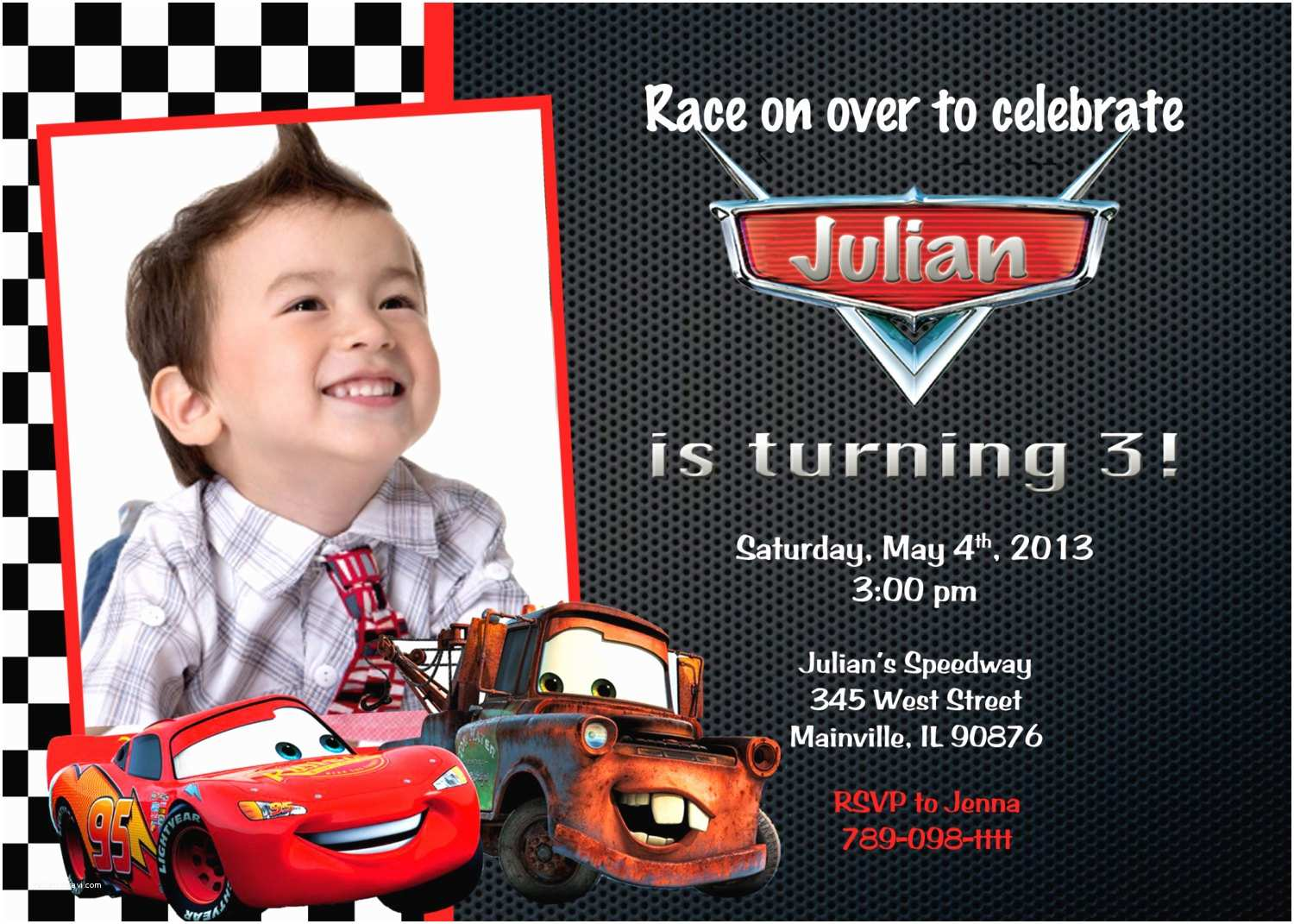 Cars Birthday Invitations Disney Lightning Mcqueen Mater Party Invitation