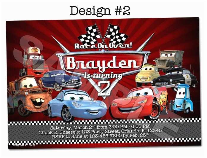 Cars Birthday Invitations Disney Pixar Cars Lightning Mcqueen Mater Birthday