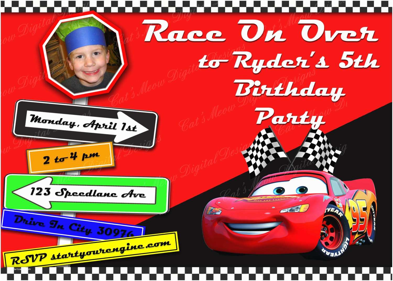 Cars Birthday Invitations Pixar Printable Invitation Personalized