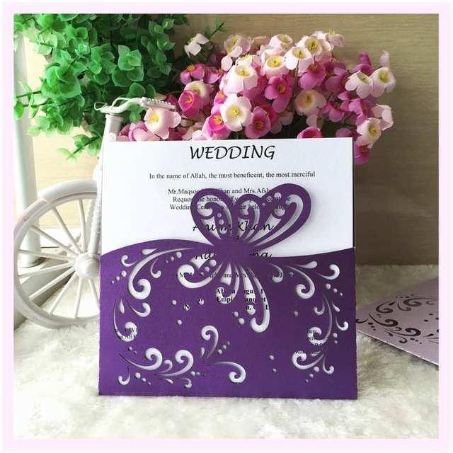 Carte Blanche Design Wedding Invitations 30psc Lot Dark Purple 2017 Unique butterfly Pocket Design