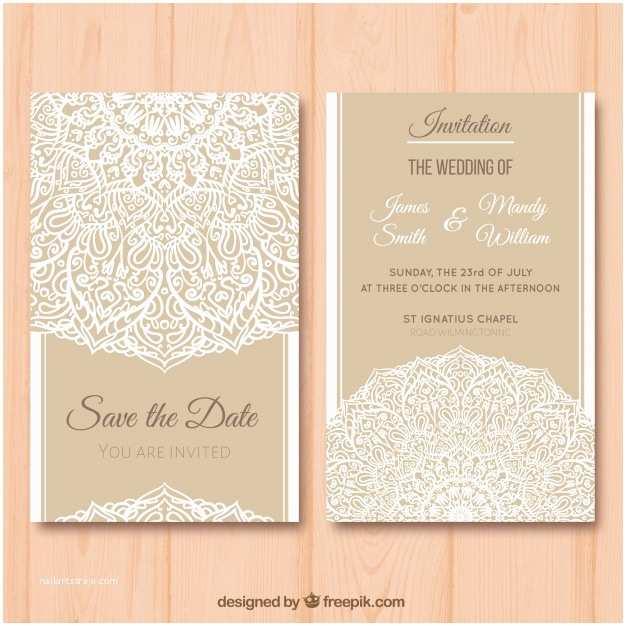 Carte Blanche Design Wedding Invitations Carte De Mariage élégante Avec Motif Mandala