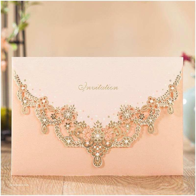 Carte Blanche Design Wedding Invitations Engagement Luxury Pink Hollow Flower Wedding Invitations
