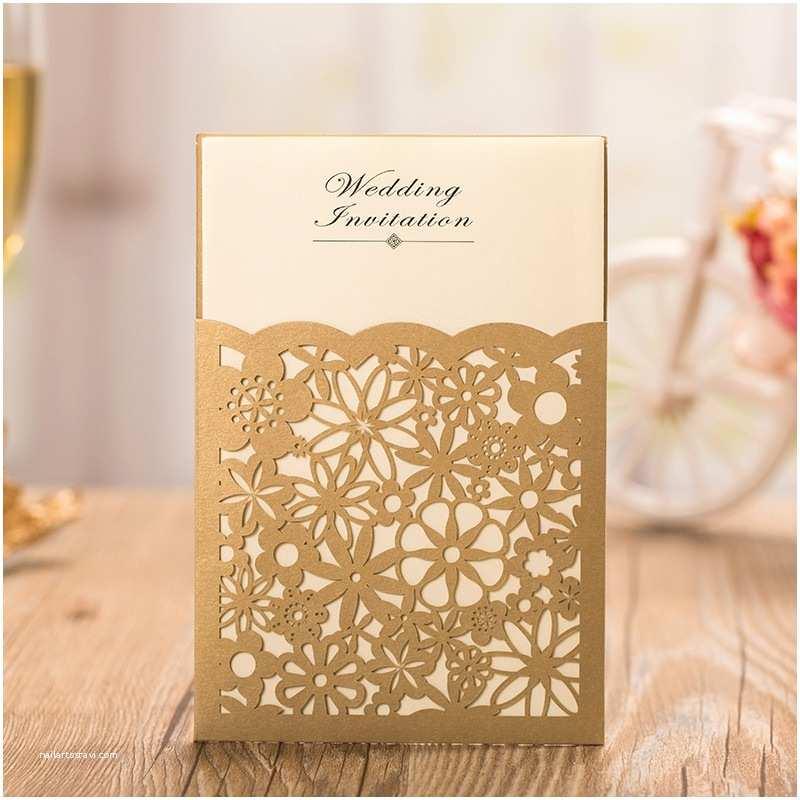 Carte Blanche Design Wedding Invitations Gold Laser Cutting Invitation Cards Gold Wedding