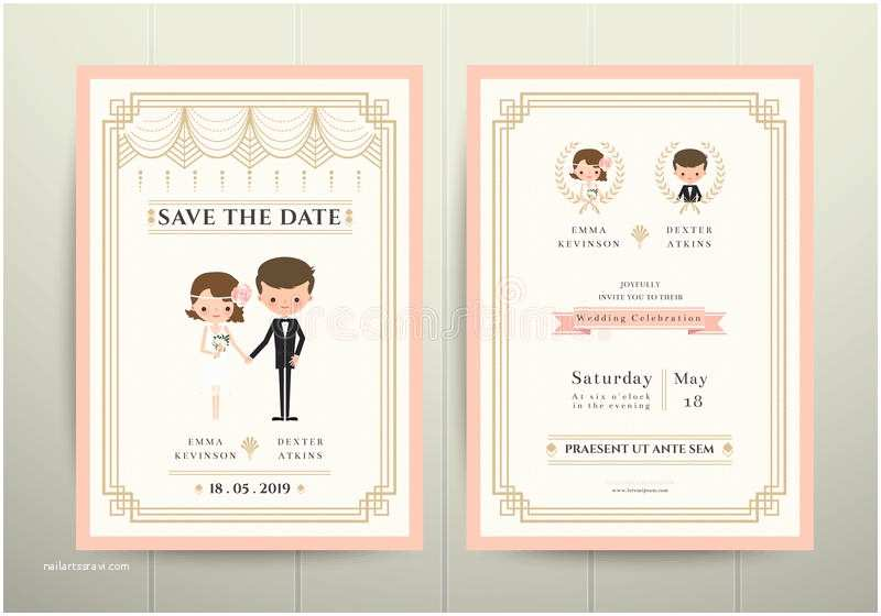 Cartoon Wedding Invitations Online Art Deco Cartoon Couple Wedding Invitation Card Stock