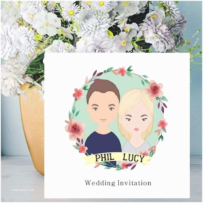 Cartoon Wedding Invitations Online Cartoon Couple Illustration Wedding Invitations