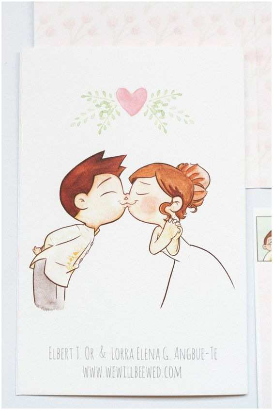 Cartoon Wedding Invitations Online Cute Cartoon by Elbert Wedding Invite Cover