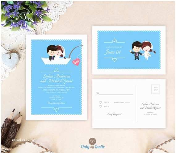 Cartoon Wedding Invitations Online Funny Wedding Invitation Cartoon Bride and Groom Fishing