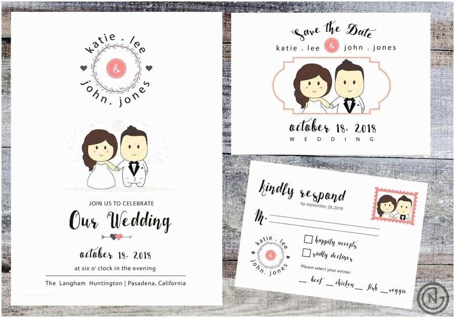 Cartoon Wedding Invitations Online Portrait Wedding Invitation White Printable Invites