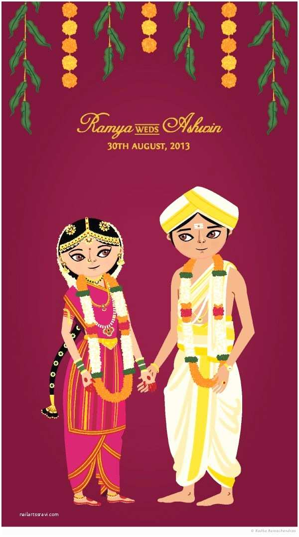 Cartoon Wedding Invitations Online Ramya Weds ashwin by Radha Ramachandran Via Behance