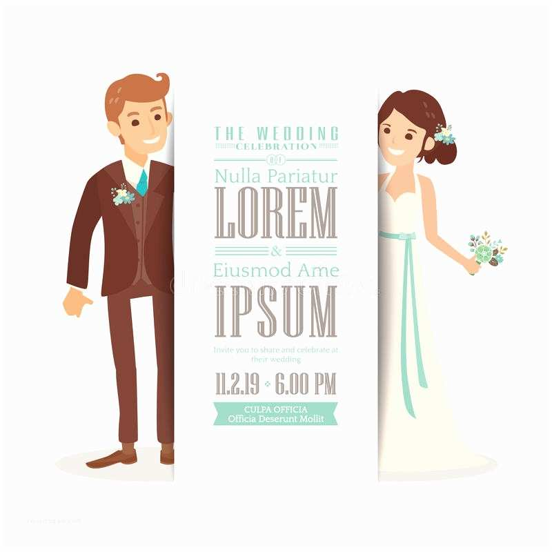 Cartoon Wedding Invitations Online Wedding Couple Groom and Bride White Background