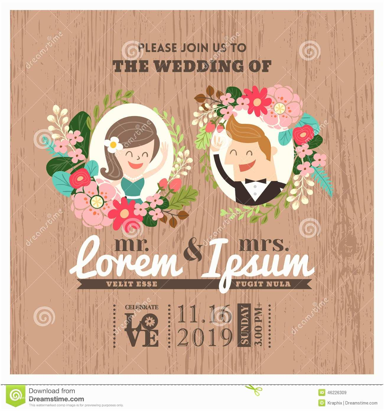 Cartoon Wedding Invitations Online Wedding Invitation Card with Cute Groom and Bride Cartoon