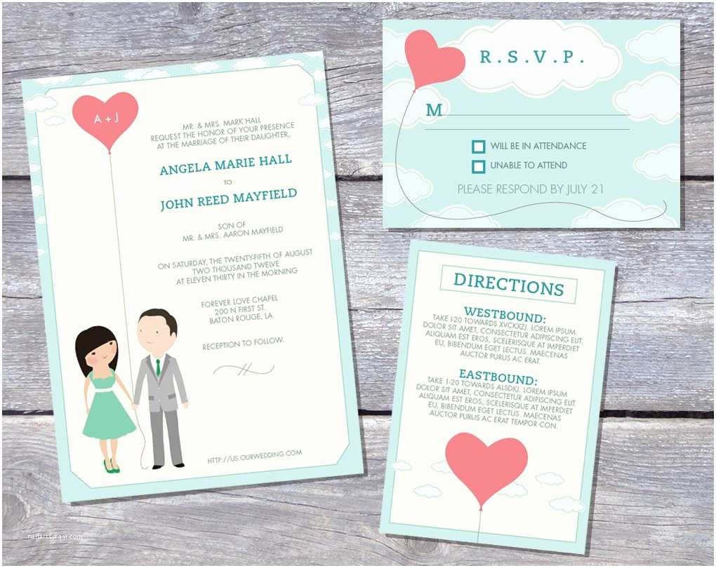 Cartoon Wedding Invitations Online Wedding Invitation Suite Custom Cartoon Printable Design