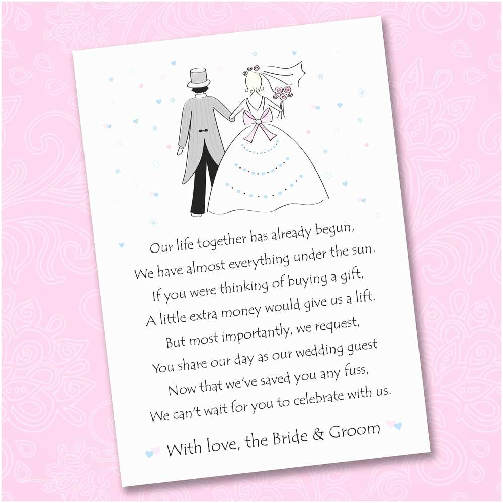 Cash Preferred Wedding Invitation 25 X Wedding Poem Cards for Your Invitations ask