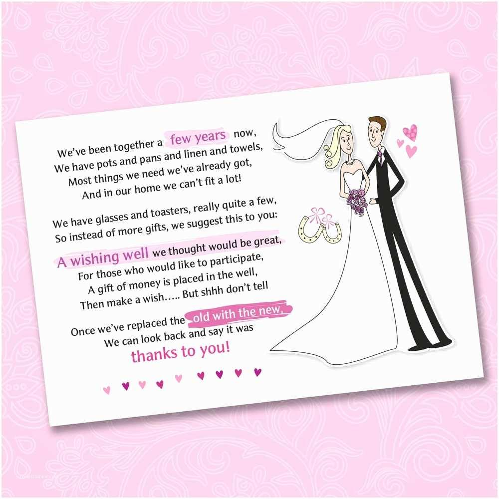 Cash Preferred Wedding Invitation 25 X Wedding Wishing Well Poem Cards for Your Invitations
