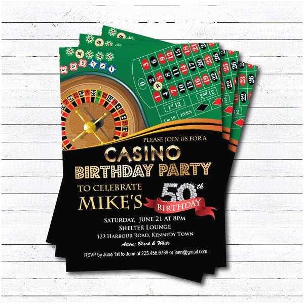 Casino Party Invitations Casino 50th Birthday Invitation Adult Man Birthday Surprise