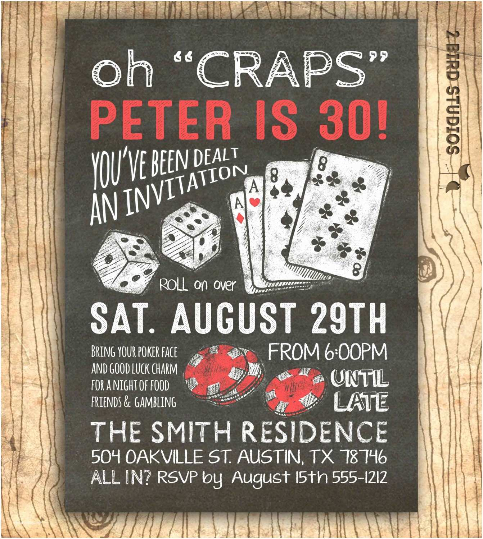 Casino Party Invitations Casino Invitation for Party Birthday 30th Birthday or