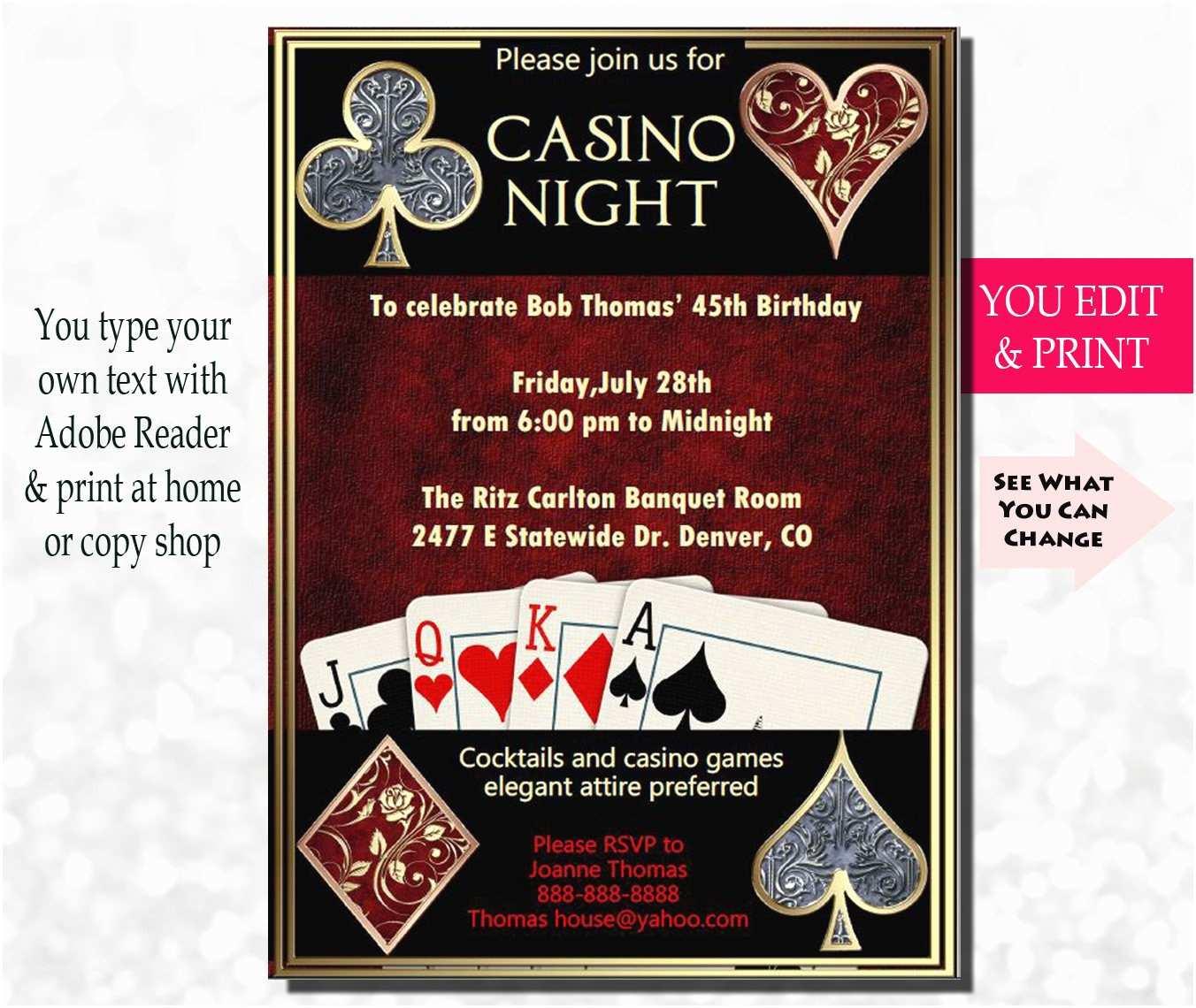 Casino Party Invitations Casino Night Invitation Casino Invitation Casino Party
