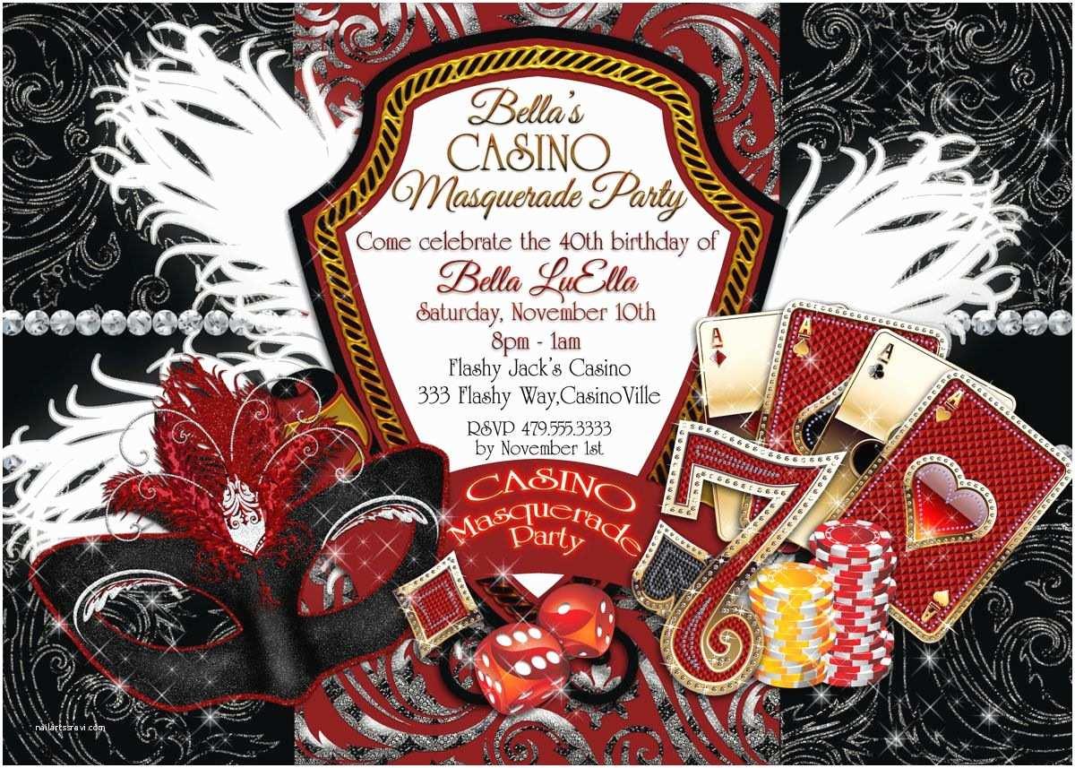 Casino Party Invitations Casino Night Invitations Masquerade Casino Party Casino