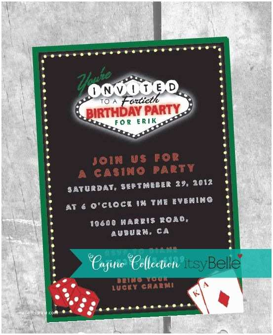 Casino Party Invitations Casino Party Invitation Printable Invitation by Itsy