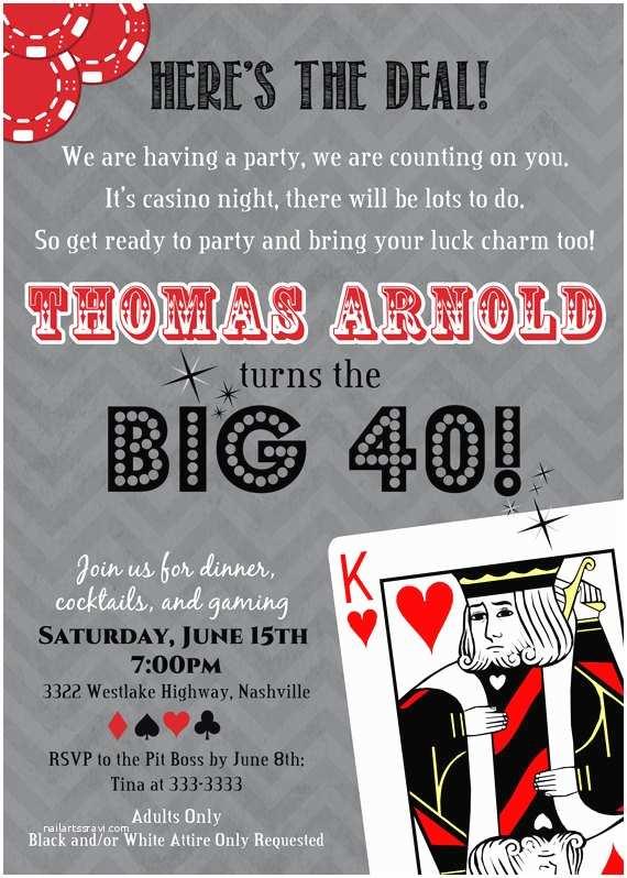 Casino Party Invitations Casino Poker Card Adult Birthday Party Invitation
