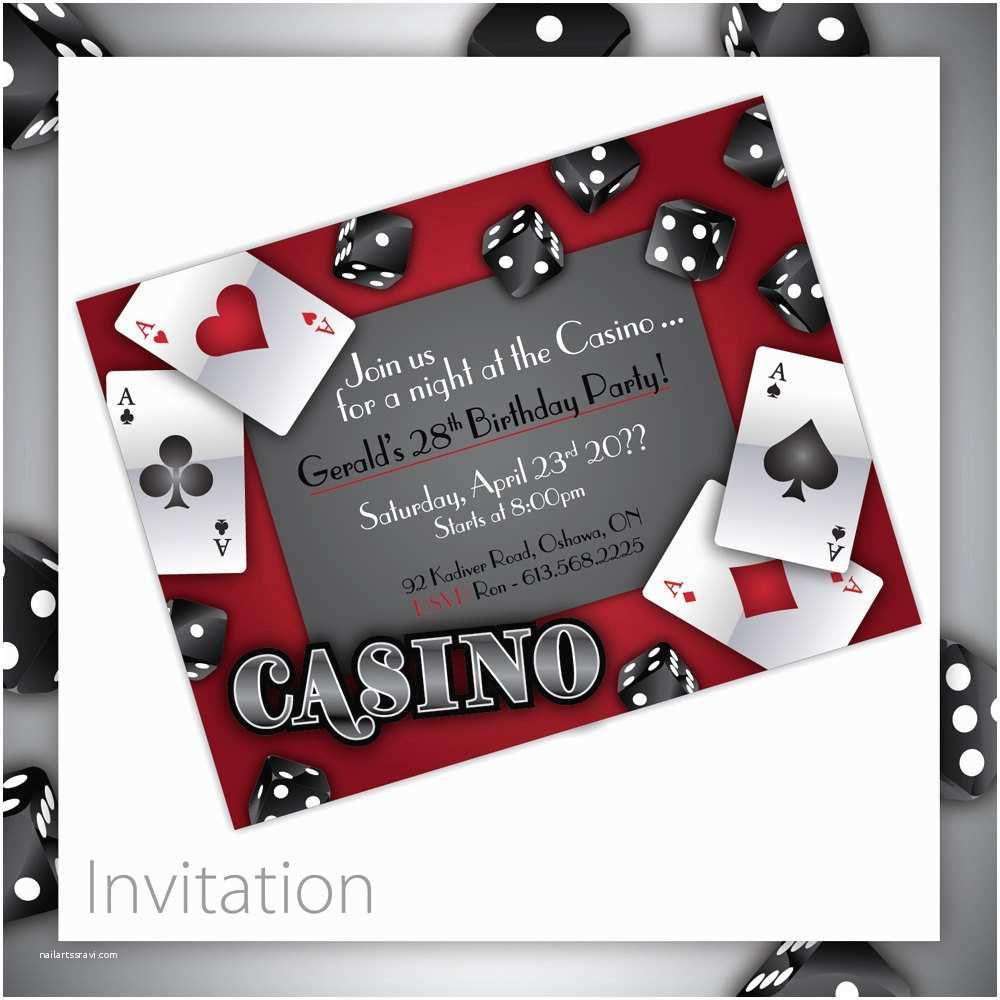 Casino Party Invitations Casino theme Party Invitations