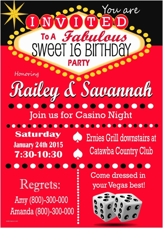 Casino Party Invitations Casino theme Party Las Vegas Sweet 16 Party Invitation Retro
